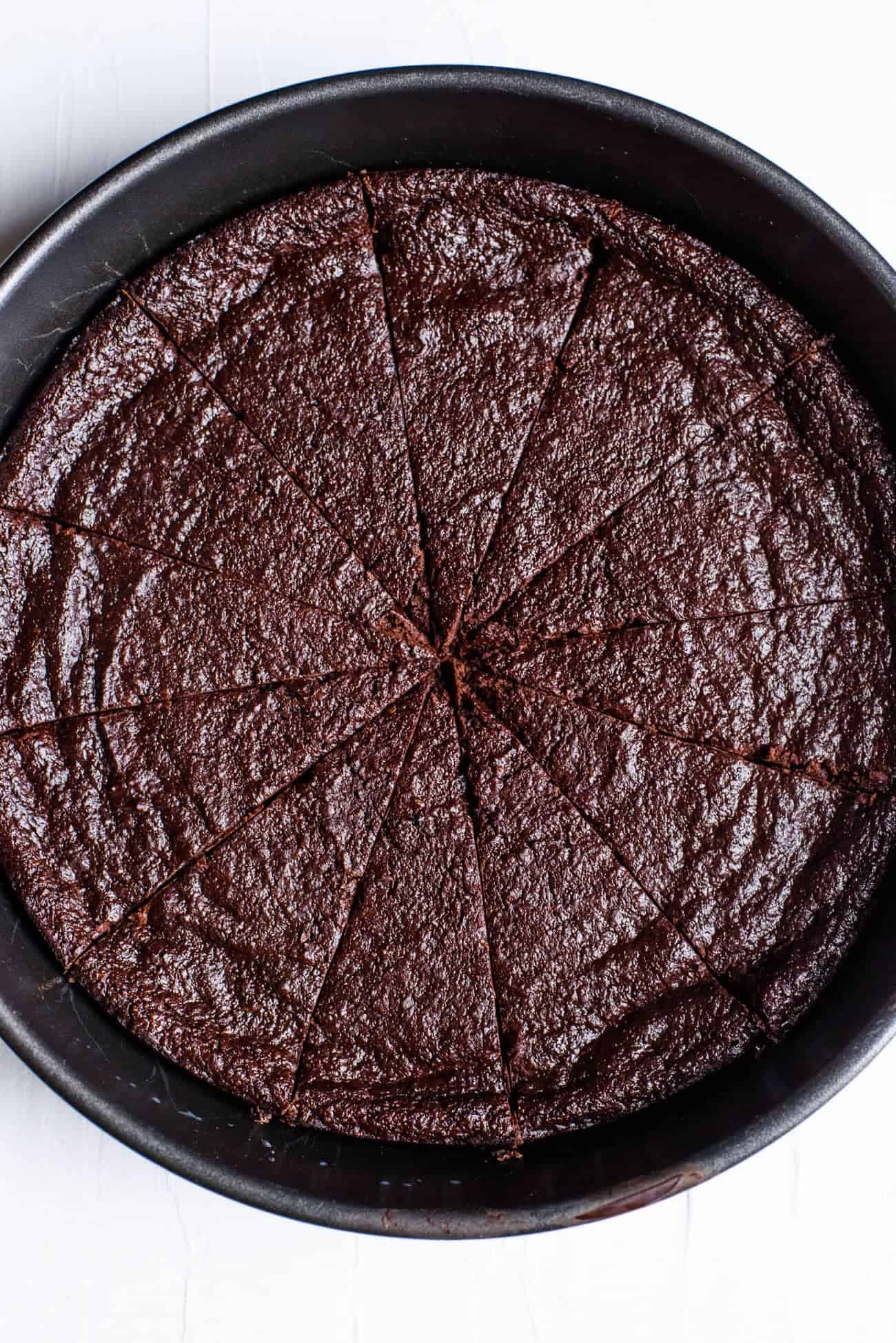 Close-up of vegan flourless chocolate cake