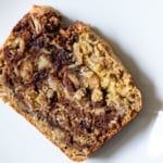 Close-up of slice of vegan marble banana bread