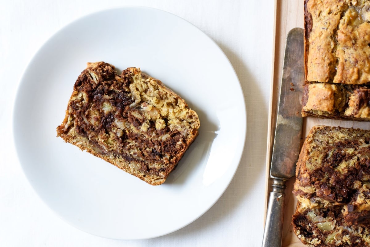Vegan marble banana bread on a while plate