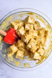 This tofu feta recipe includes marinating tofu cubes in a miso-based marinade