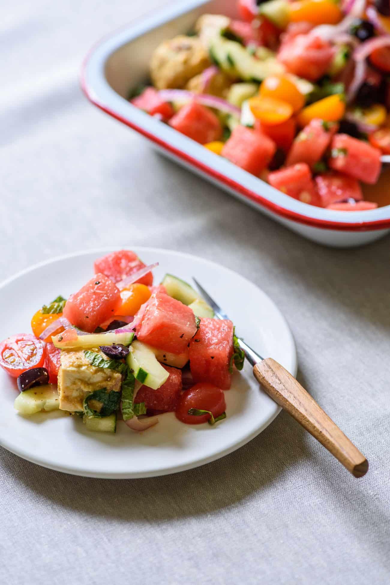 Vegan Watermelon Salad on a white plate