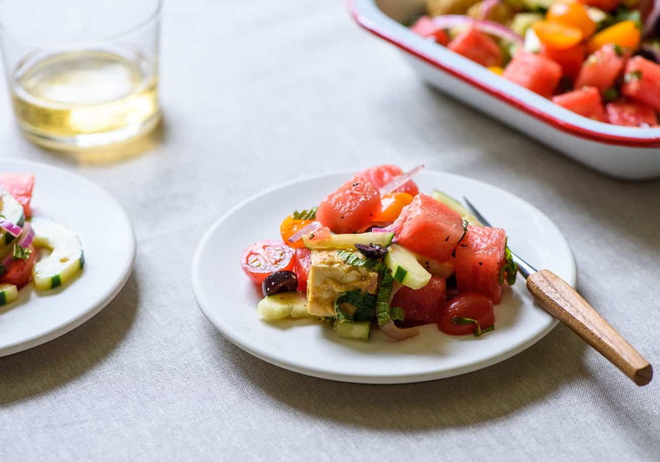 "Greek Watermelon Salad with Vegan Tofu ""Feta"""