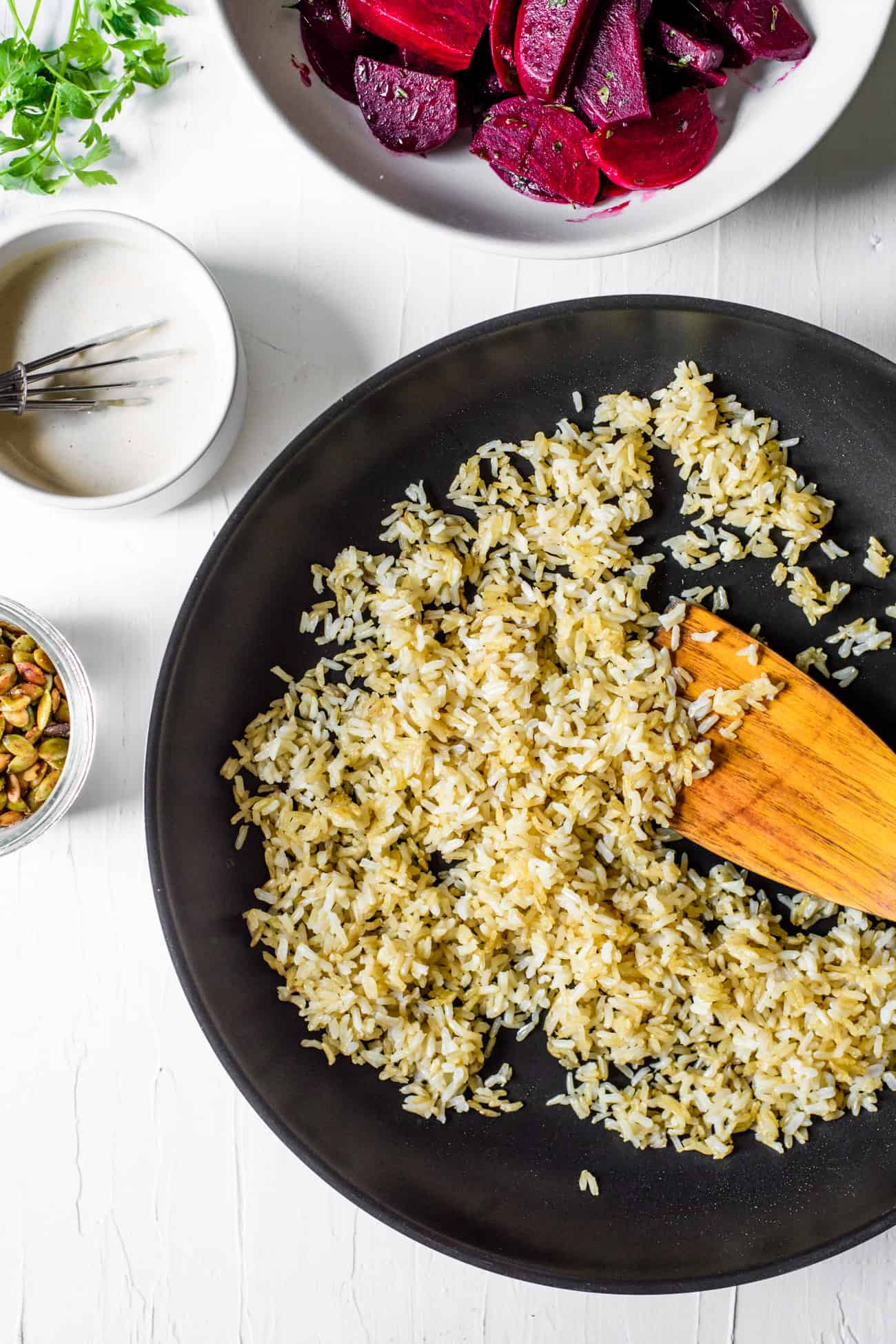 Crispy brown rice in a non-stick skillet