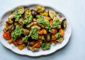 Vintage oval platter with roasted eggplant and tomatoes with pesto