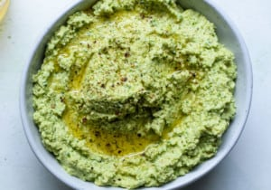 Close-up photo of creamy edamame dip