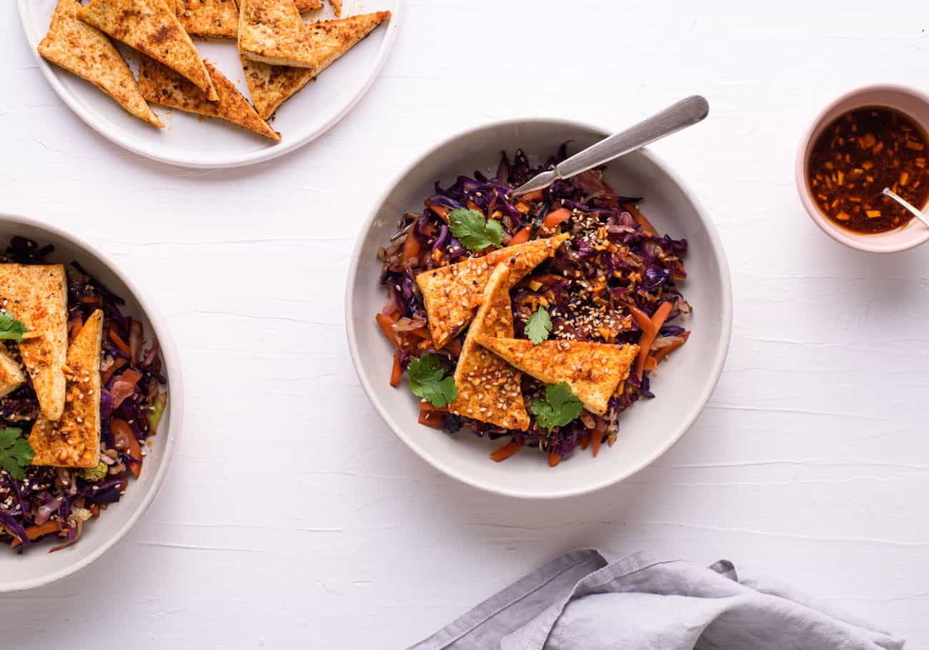 Seared tofu bowls with cabbage and carrots
