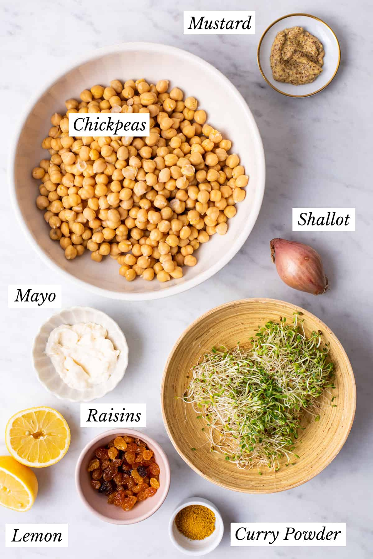 Curried chickpea salad in a while bowl