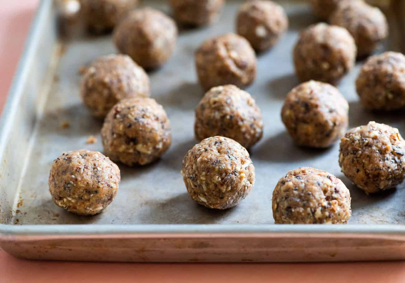 Peanut butter energy balls on a small baking tray