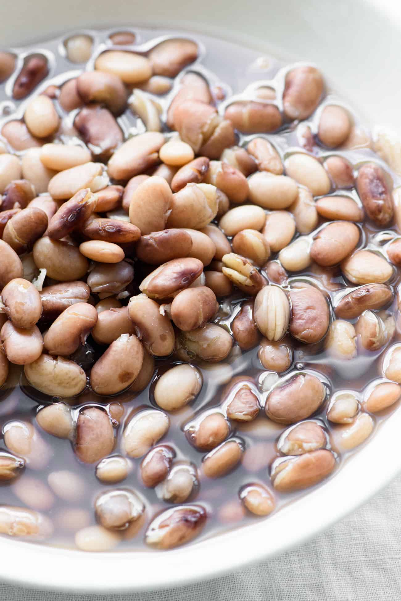 A bowl of cooked pinto beans