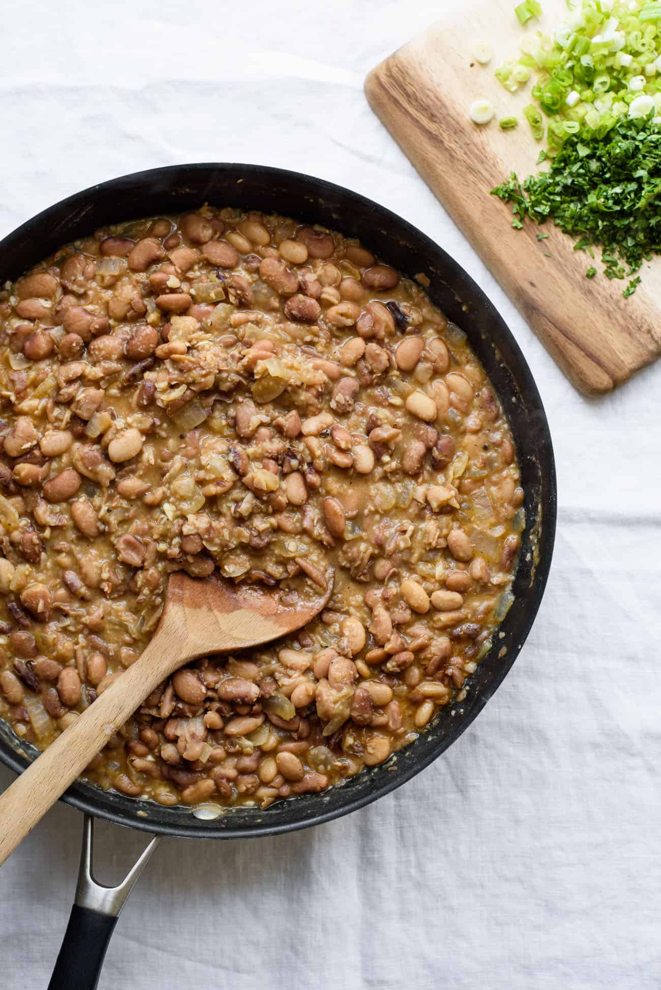 Brothy beans in a skillet