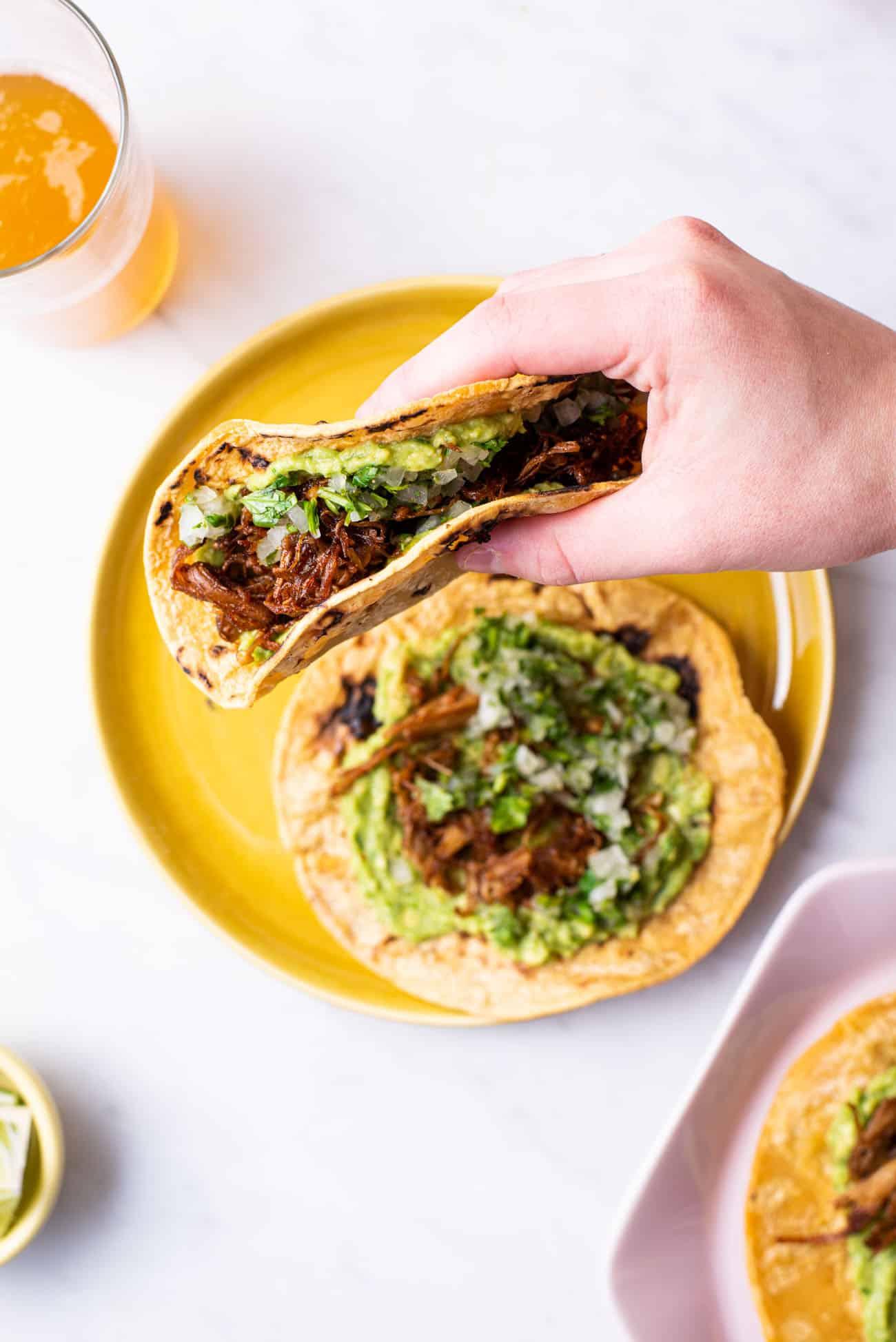 A hand holding a folded vegan carnitas taco