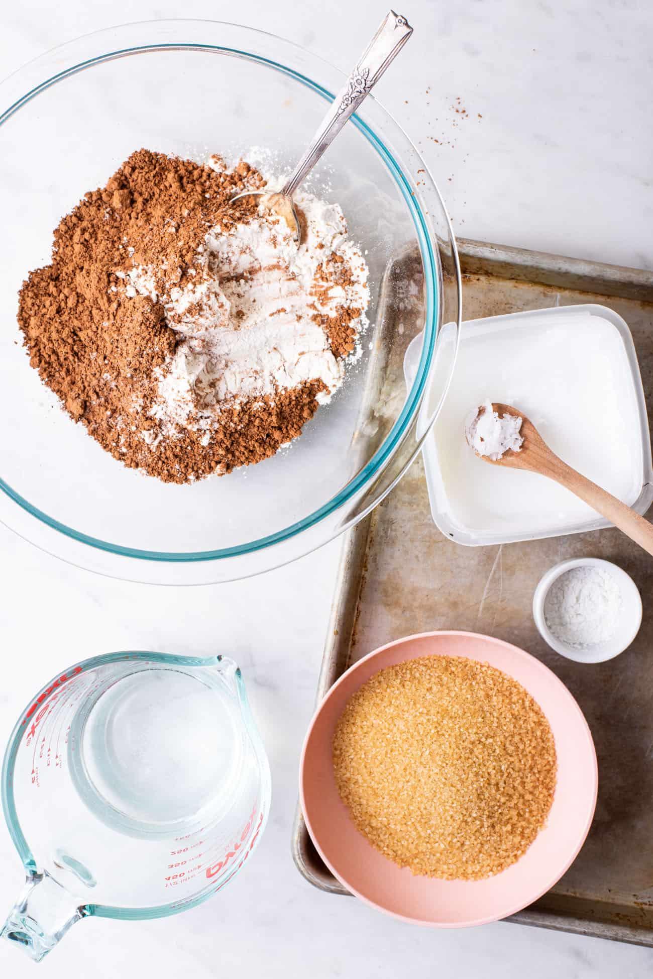Ingredients gathered to make vegan brownies