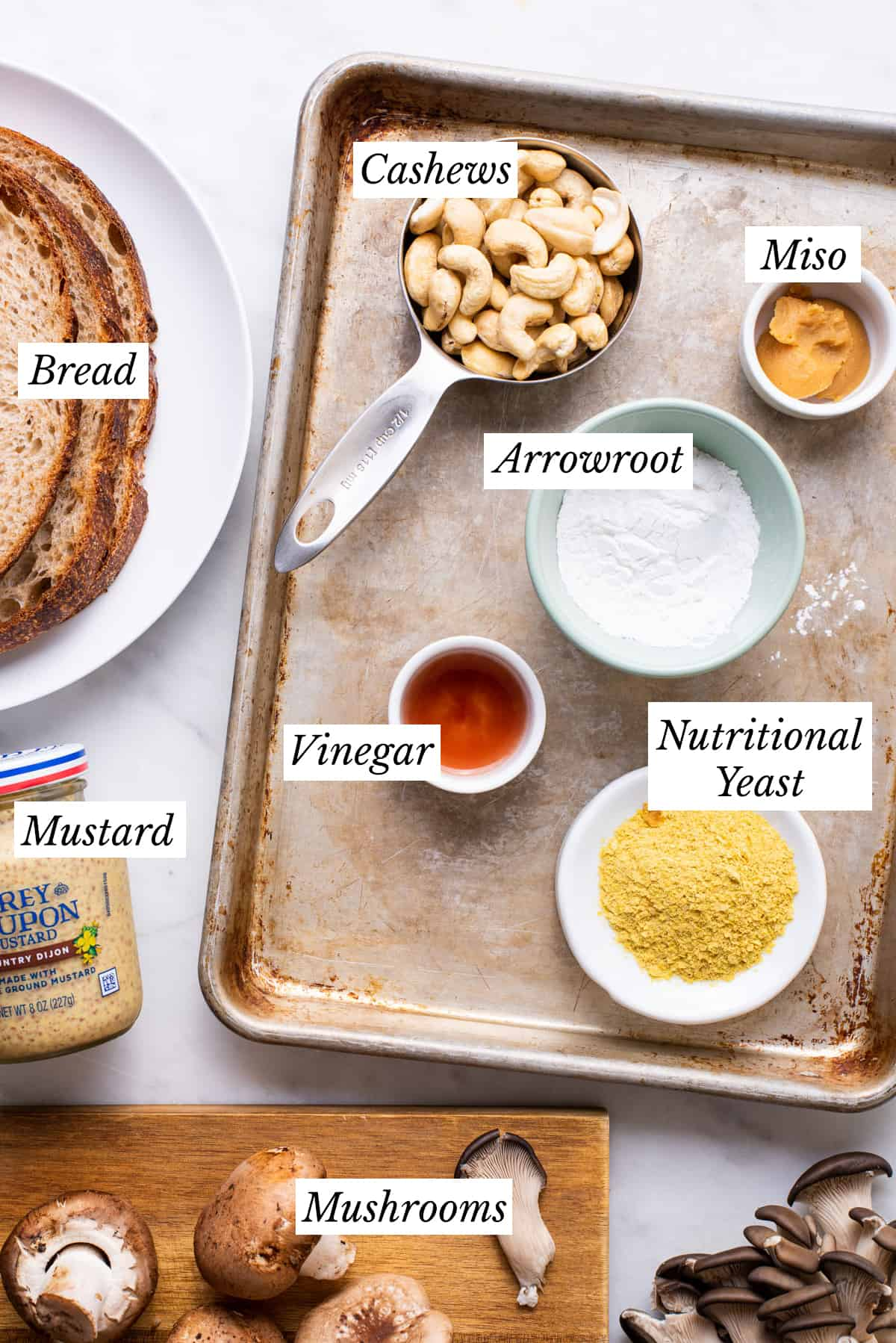 Ingredients gathered to make vegan mushroom toasts.
