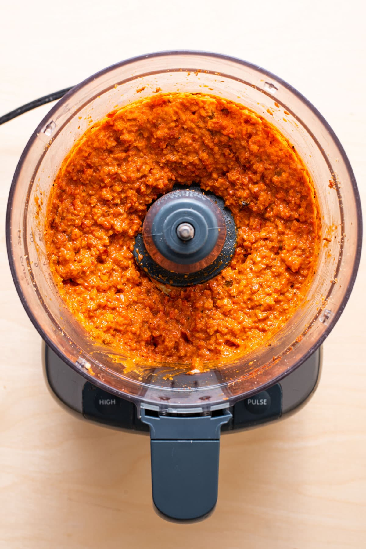 Homemade romesco sauce in a food processor.