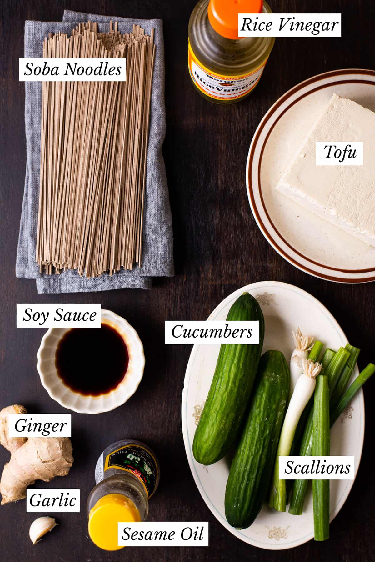 Ingredients gathered to make a vegan noodle bowl.