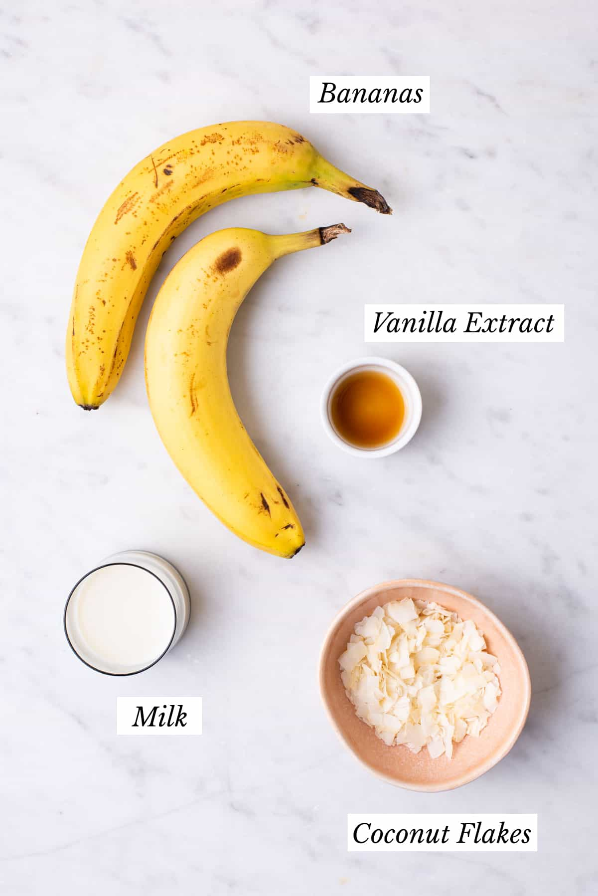 Ingredients gathered to make no-churn banana ice cream.