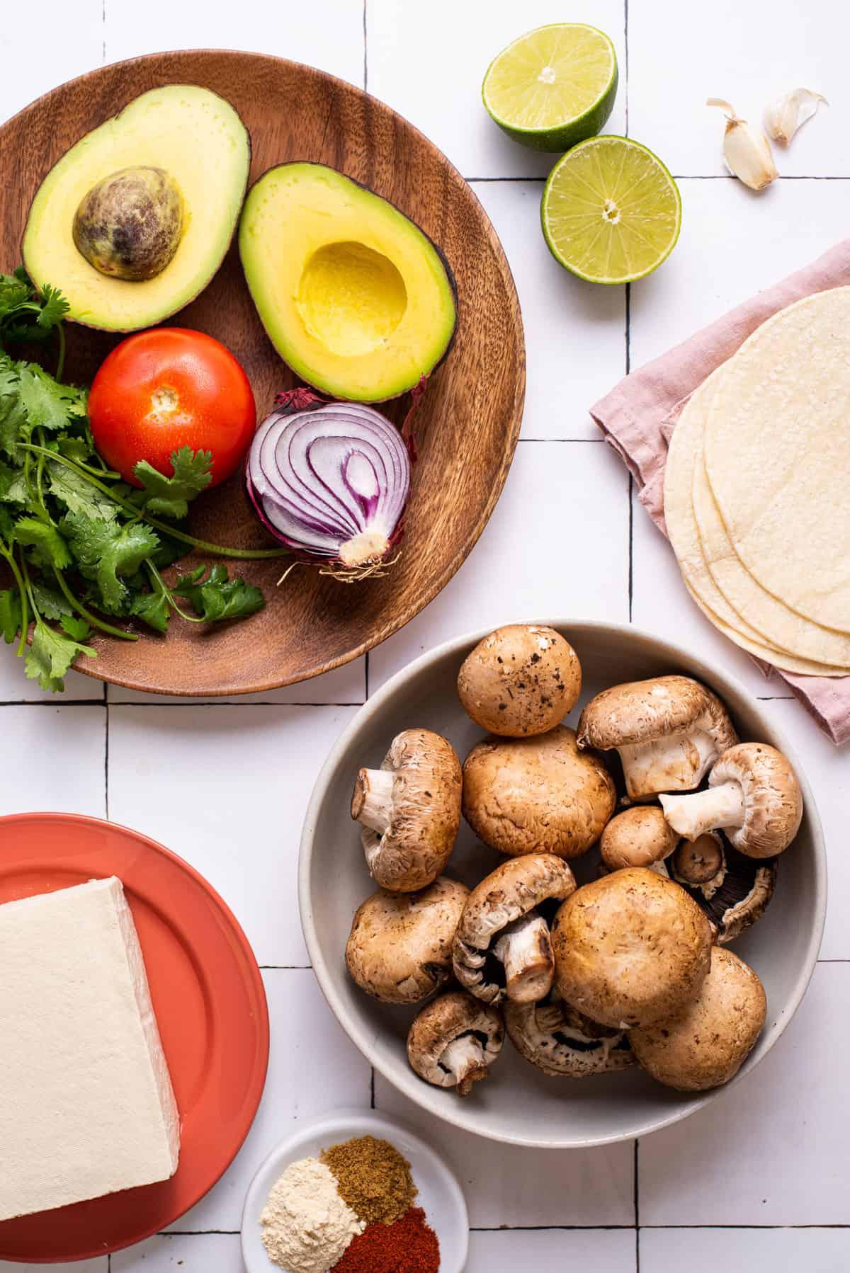 """Ingredients gathered to make vegan """"fish"""" tacos with tofu."""