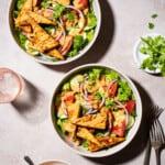 2 bowls of thai salad with peanut dressing and tofu.