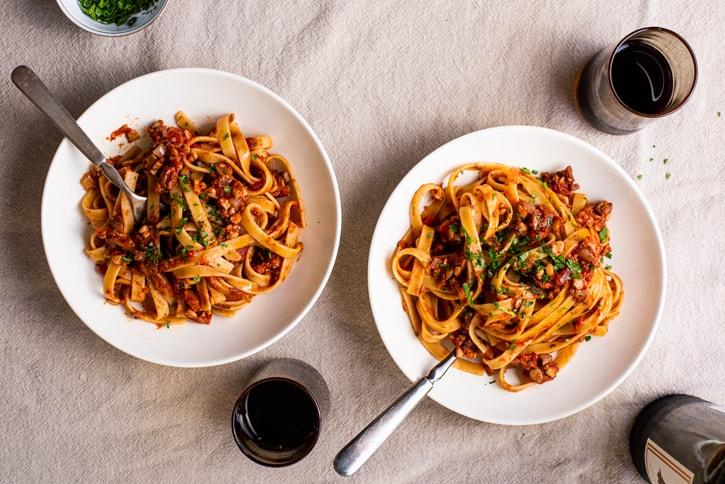 vegan tempeh bolognese pasta.