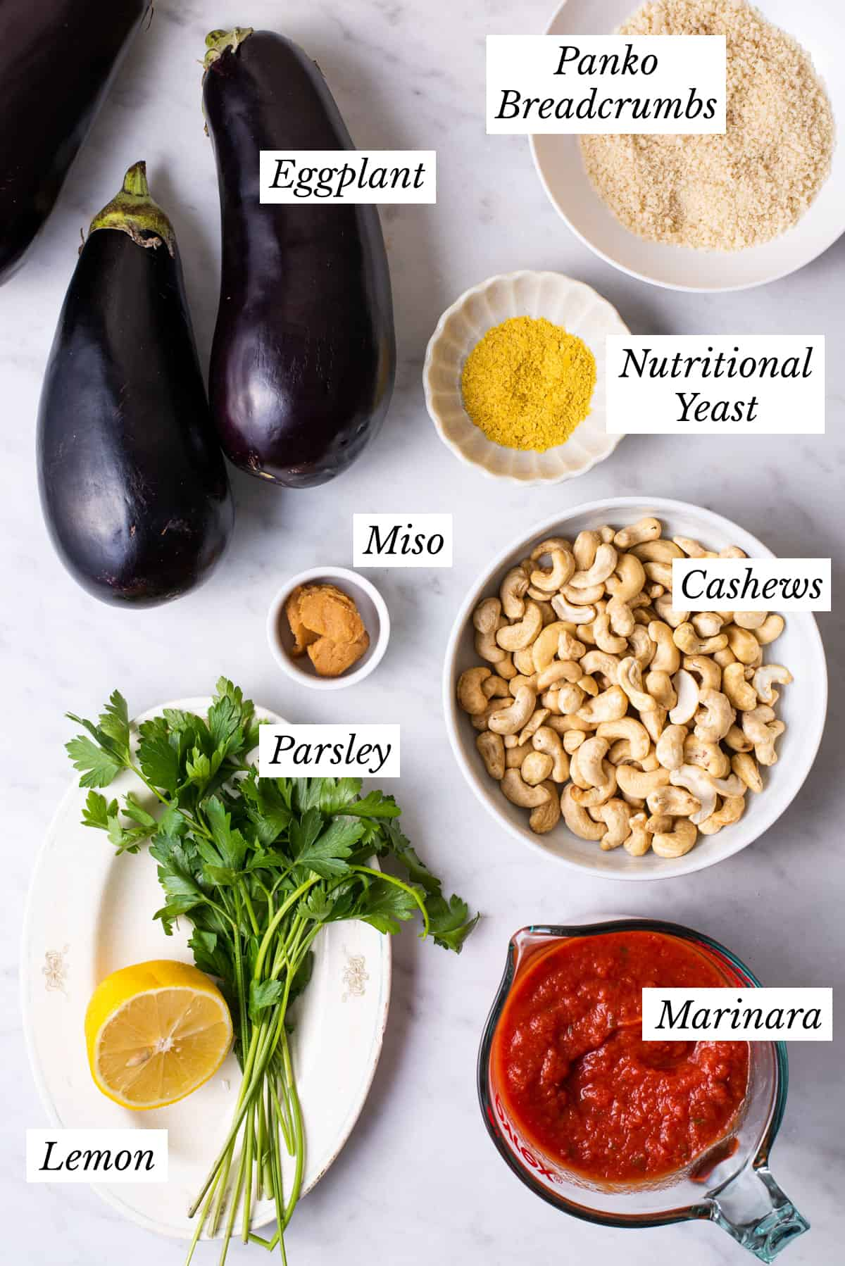 Ingredients gathered to make eggplant lasagna stacks.