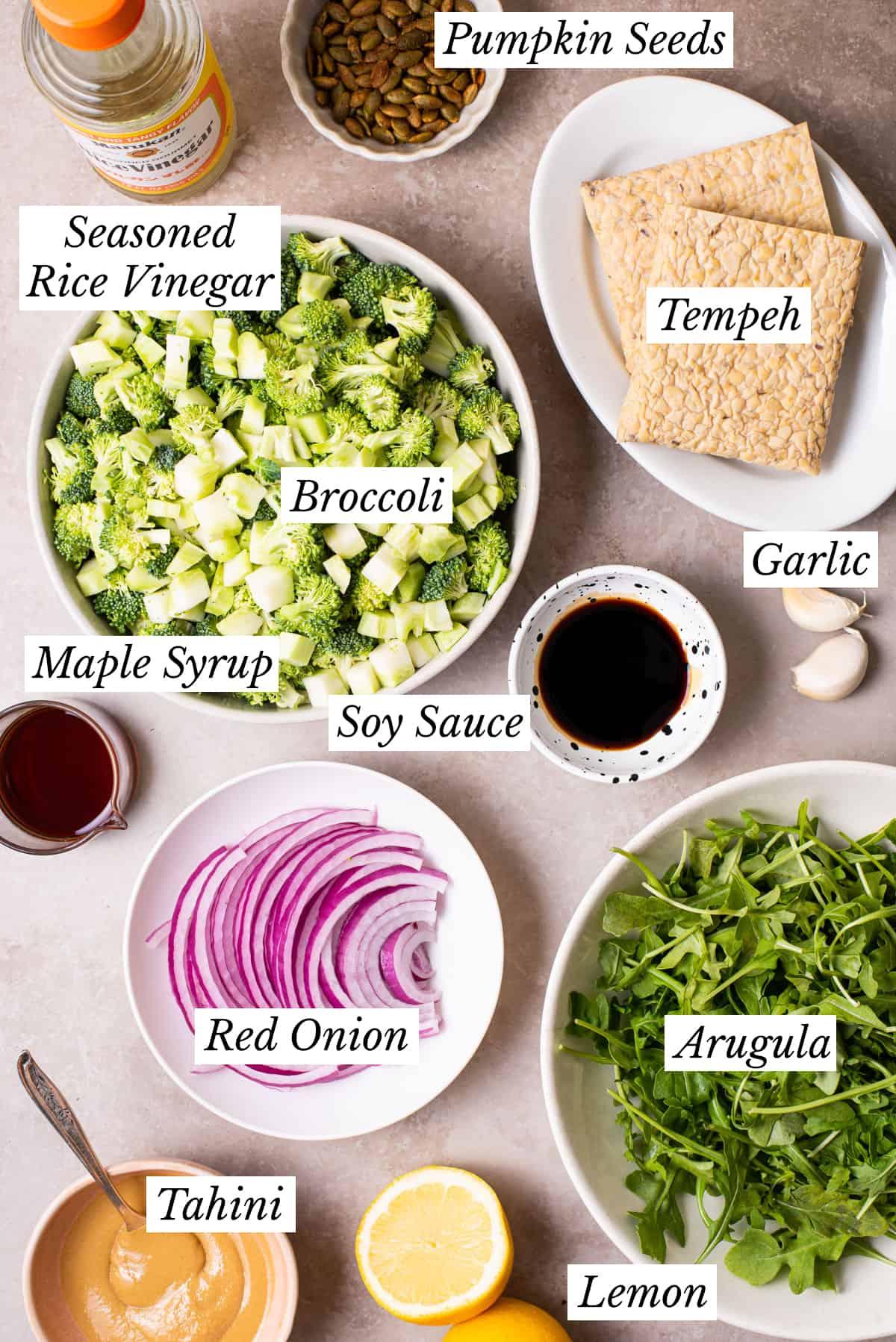 Ingredients gathered to make a vegan meal prep salad.