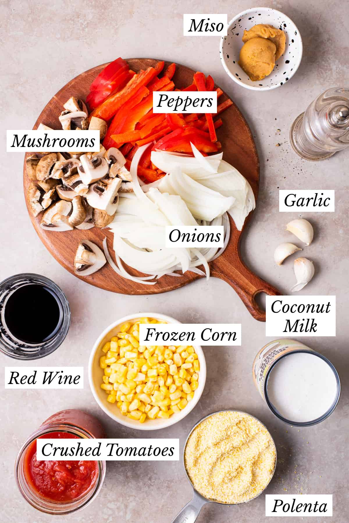 Ingredients gathered to make creamy miso polenta with mushroom ragu.