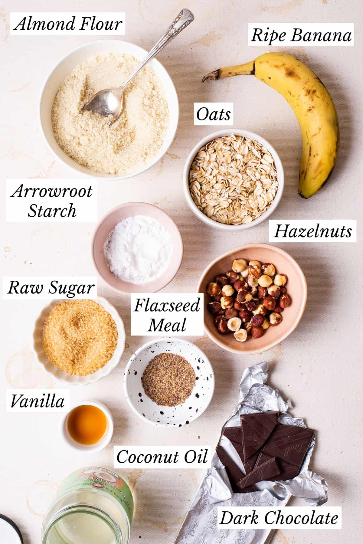 Ingredients gathered to make banana oatmeal breakfast cookies.
